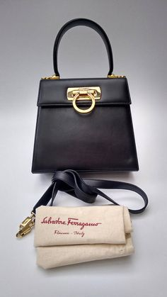 Ferragamo Salvatore Vintage Black Leather Gancini Kelly Style Shoulder Bag Italian Designer Purse