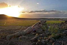 A U.S. Army paratrooper provides overwatch security to fellow paratroopers and Afghan soldiers after a firefight in Afghanistan's Ghazni province, May 17, 2012. The paratrooper is assigned to the 82nd Airborne Division's 1st Brigade Combat Team. Insurgents use the agricultural areas surrounding Combat Outpost Giro for various activities. (U.S. Army photo by Sgt. Michael J. MacLeod)