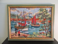Nice hand stiched framed needlepoint- coastal fishing scene- nice condition, vivid colors, ready to hang by HeathersCollectibles on Etsy