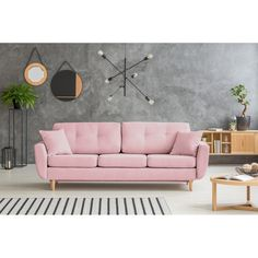 Ružová rozkladacia pohovka so svetlými nohami Mazzini Sofas Rose