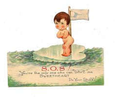 Valentine Card Naked Baby on a Heart Shaped Piece of Ice Floating on Water