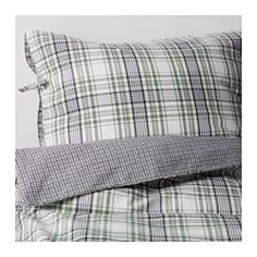 IKEA - SNÄRJMÅRA, Duvet cover and pillowcase(s), Full/Queen (Double/Queen), , Feels soft against your skin and retains its vivid colors for a long time since the yarn is dyed before weaving.You can easily vary the look in your bedroom with this duvet cover, because the sides have different patterns.Decorative ribbons keep the comforter in place.