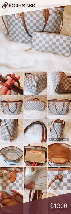 "Louis Vuitton | Damier Azur Neverfull & Zippy Both pre-loved, in overall great condition! Tote measures 11.4""L x 8.1""H x 5.1""D. Exterior in great shape; minimal discoloration to handles & trim. Some light scuffing to leather trim & light scratches to gold hardware. Bottom edges have some normal wear. Bottom interior has several pen marks/stains, as does zip pocket. Sides have a pen mark & a bit dirty from normal use. Wallet looks great; some discoloration from use. Interior looks quite good…"