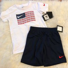 Toddler Nike Logo Flag Tee & Shorts Set Brand new with tags. No trades. No flaws. Nike Baby Clothes, Nike Clothes Mens, Summer Swag Outfits, Nike Outfits, Nike Fashion, Mens Fashion, Polo Outfit, Best T Shirt Designs, Toddler Nikes