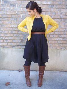 boots, dress, tights, jacket