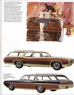 1968 Pontiac Tempest Safari and Executive Safari Station Wagons. Again, the enormity of the wayback on that Executive Safari wagon (bottom) kills me. 70s Cars, Retro Cars, Vintage Advertisements, Vintage Ads, Buick, General Motors, Safari, Station Wagon Cars, Automobile