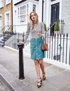 Button Through Mini Skirt WG676 A-line & Full at Boden