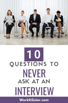 10 Questions to NEVER ask at a job interview. When employers ask if you have any questions. These 10 questions are things you should never mention at an interview. Interview Questions For Employers, Fun Questions To Ask, Job Interview Tips, Interview Preparation, This Or That Questions, Job Interviews, Interview Tips Weaknesses, Job Search Websites, Finding The Right Job