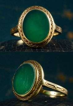 ring - 1920-30s Art Deco Green Onyx 14K Yellow Gold Signet - Erie Basin