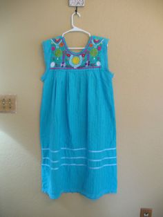Vintage Mexican dress, colorful Aqua dress in cotton, Maxi dress, sleeveless sundress, smock hippie tent dress.  Yoke has colorful floral