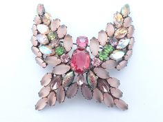 Butterfly Brooch Large dimensional frosted ab and iridescent rhinestones AB154 by MeyankeeGliterz on Etsy