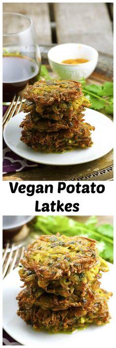Vegan Latkes! Shredded potatoes flavored with cilantro and turmeric, crispy on the outside and creamy inside. A nice little twist on the traditional potato Latkes, a Chanukah (Hanukkah) favorite. Vegetarian Potato Recipes, Vegetarian Types, Veggie Recipes, Whole Food Recipes, Healthy Recipes, Veggie Food, Shredded Potatoes, Potato Latkes