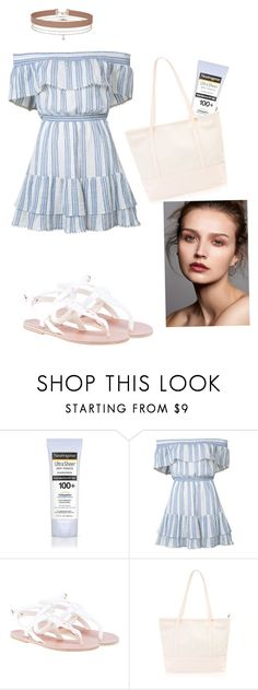 """Florida Beach Day"" by unicornofglass ❤ liked on Polyvore featuring Neutrogena, LoveShackFancy, Ancient Greek Sandals and Miss Selfridge"