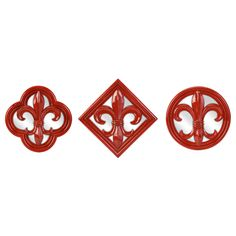 Dramatic Rocha red gives fashion flair to this set of mirrors. Intricately carved fleur de lis motifs are cast, then decorated in high gloss. Set of three graduated sizes.