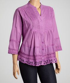 Another great find on #zulily! Lilac Pleated Lace-Hem Button-Up Top - Plus #zulilyfinds