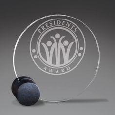 Circular Acrylic Award with Round Black Base - kinda cool