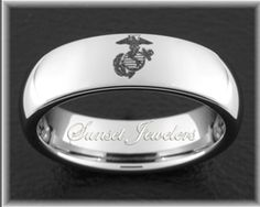 USMC Tungsten Wedding Rings With Marines Eagle Globe And Anchor Symbol Free Inside Engraving
