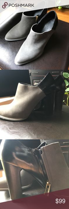 See by chloe leather/suede booties These are in excellent used condition! Minimal wear on the bottom of shoes! Black and gray, and gold zipper on the side!love the two tone look, very sharp! Size 8! i am only selling because they are slightly narrow for my foot! Beautiful boots! See By Chloe Shoes Ankle Boots & Booties