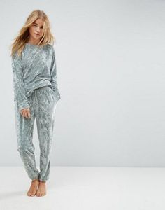 ASOS LOUNGE Crushed Velvet Sweat and Jogger Set in Green