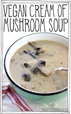 Vegan Cream of Mushroom Soup! This soup takes just 20 minutes to make! Quick, easy, creamy, and totally dairy-free. via (yummy dinner recipes mushroom soup) Healthy Recipes, Gourmet Recipes, Vegetarian Recipes, Cooking Recipes, Delicious Recipes, Easy Recipes, Copycat Recipes, Vegan Vegetarian, Dinner Recipes