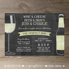Perfect Pair Invitations • Chalkboard Invites • Engagement Party • Wine and…