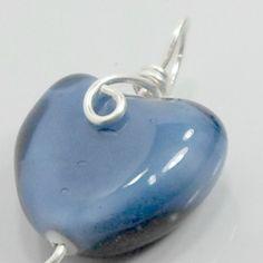 Pendant handmade wirework heart blue lampwork by BobsFlameBeads