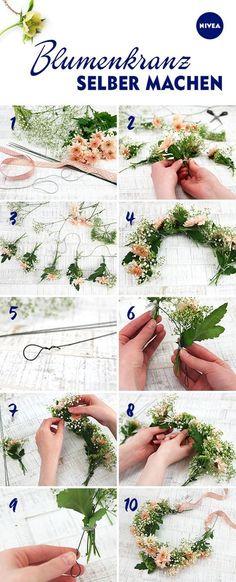 Kein Festival ohne Blumen im Haar! Wir zeigen euch Bild für Bild, wie ihr eure DIY Flower Crown bindet. Was ihr braucht: frische Blumen, Draht, Satinband und ein wenig Geduld.