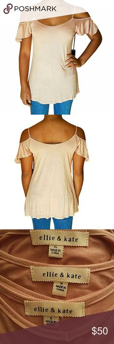*NEW* COLD SHOULDER Off the Shoulder Spaghetti Top *Boutique item = BRAND NEW without tags. OFF THE SHOULDER BEIGE PINK (PEACH) TOP WITH FLARE HEM. Soft and uber comfortable! Perfect for casual wear with jeans. 95% Rayon; 5% Spandex. Slight Vneck. Short-sleeved, spaghetti strapped, cold shoulder. *All photos are of the actual item. *Photos taken by @wardrobeconcept. *Price is firm when purchased as a single item. Feel free to bundle for an amazing discount! Measurements available upon…