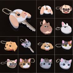 Cover Cap 3D Cute Puppy Pug Cat PVC Rabbit Decoration Fashion Keychain Key Ring  #New