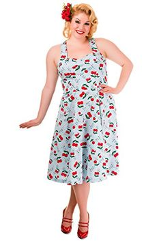 Banned Blind Side Cherry Print Plus Size Halter Dress - -...