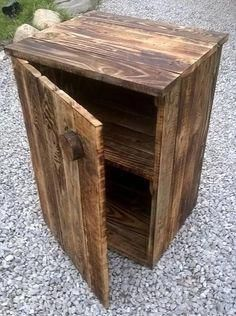 Pallet Designs pallet nightstand - now through free medium of pallets which always beg to be recycled! Tryout this little DIY pallet nightstand, beautifully made and comes with a door!