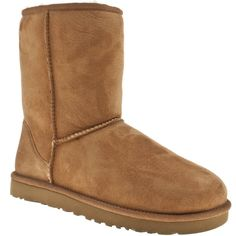 Ugg Australia Chestnut Classic Short Boots ($190) ❤ liked on Polyvore featuring shoes, boots, ankle booties, chestnut, ugg australia, short boots, sheepskin boots, sheepskin booties and chestnut boots