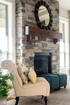 Echo Ridge Country Ledgestone on this floor to ceiling stone fireplace with a beautifully stained mantle is the perfect accent to the great room.