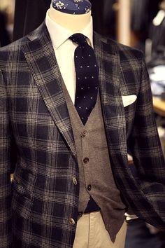 #fashion#plaid#dots#gentleman #vest#Suit