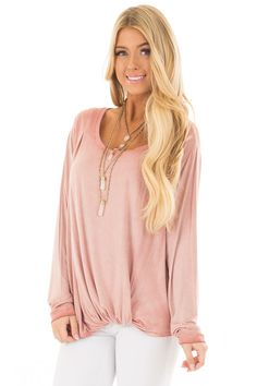 7102b6e9e Lime Lush Boutique - Blush Mineral Wash Top with Front Twist, $36.99 (https: