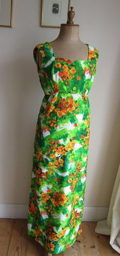 Vintage 60s 70s maxi dress Mary Martin Florida by vintageartizania