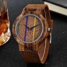 Carved Nature Unisex Colorful Lines Cork Wood Wristwatch Cork Wood, Wooden Watches For Men, Minimalist Fashion, Minimalist Style, Quartz Watch, Wood Watch, Unique Gifts, Unisex, Purple