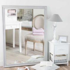 Spiegel aus Paulownienholz, grau, H 120cm, EMELINE