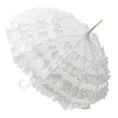 romantischer Rüschen - Schirm weiß