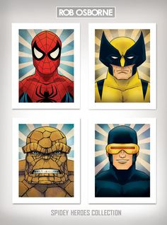 SPIDER-MAN HEROES Collection Comic Book Inspired Pop Art Prints 11x14 by Rob Osborne