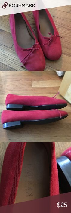 Lauren Ralph Lauren red suede flats Excellent condition Lauren Ralph Lauren red suede flats.  Get for up coming holidays. Looks great with grey, black even green. Brought at Nordstrom rack for $50. Retails for over  $100 Lauren Ralph Lauren Shoes Flats & Loafers