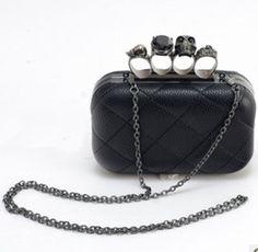 CITY 150mm Elegante PU Leder Skull Ringe Clutch Handtasche