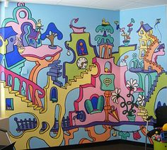 Scene thiS? Original Artwork in Adelaide - Murals, Paintings, Drawings, Theatre Sets & Fine Art Dr Seuss Art, Dr Seuss Week, Dr Suess, Dr Seuss Mural, Dr Seuss Drawings, Project Purple, School Murals, Background Drawing, Art Lessons Elementary