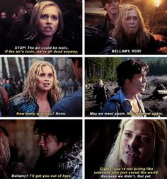 #Bellarke #The100 the first and last words they say to each other each season...