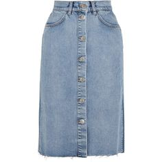 M.i.h Jeans Park denim midi skirt (€220) ❤ liked on Polyvore featuring skirts, bottoms, blue, mid-calf skirts, calf length skirts, blue midi skirts, denim skirt and midi skirt
