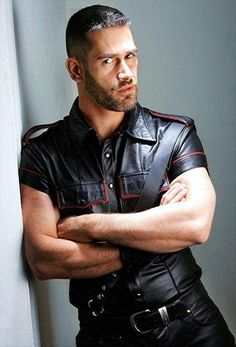 There is definitely something tremendously sexy about a guy with an attitude wearing a leather shirt and a pair of leather pants. Tight Leather Pants, Leather Trousers, Leather Jacket, Leather Fashion, Leather Men, Black Leather, Leather Tops, Biker Leather, Hairy Men