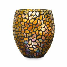 """Gorgeous """"Aurora"""" Hurricane takes pillars, votives or tealights.  Mosaic glass in neutral colors are perfect for any decor. Get a  FREE doz tealights w/purchase email for code at sellutions@verizon.net"""