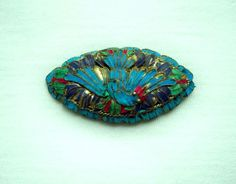 Great old Chinese export kingfisher feather brooch with bird detail in white metal!