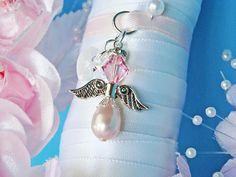 Wedding Bouquet Charm Pink Swarovski Crystal and Pearl Angel Wedding Bouquet Charms, Wedding Bouquets, Swarovski Crystals, Pearl Earrings, Charmed, Angel, Pearls, Bridal, Pink