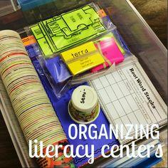 Organizing literacy centers.